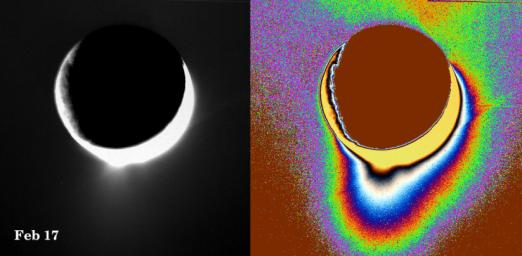 Plumes of icy material extend above the southern polar region of Saturn's moon Enceladus as imaged by NASA's Cassini spacecraft in February 2005. The monochrome view is presented along with a color-coded version on the right.