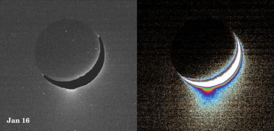 Plumes of icy material extend above the southern polar region of Saturn's moon Enceladus, as imaged by NASA's Cassini spacecraft in January 2005. The monochrome view is presented along with a color-coded image on the right.