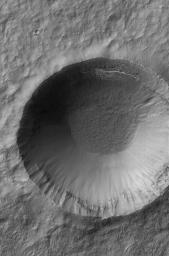 NASA's Mars Global Surveyor shows a crater in southern winter with frost deposits on a northern wall on Mars.