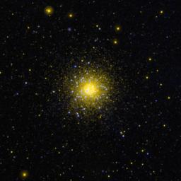 This ultraviolet image from NASA's Galaxy Evolution Explorer is of the globular cluster NGC 1851 in the southern constellation Columba.
