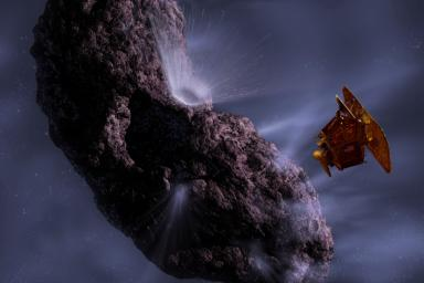 This artist's concept gives us a look at the moment of impact and the forming of the crater.