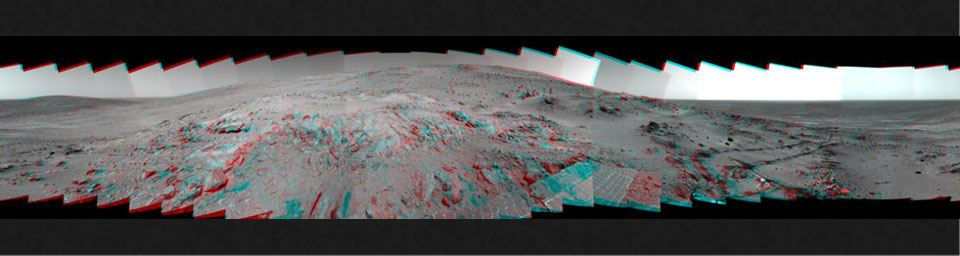 This is a stereoscopic version of NASA' Mars Exploration Rover Spirit's 'Lookout' panorama, acquired on Feb. 27 to Mar. 2, 2005. The view is from a position known informally as 'Larry's Lookout.' 3D glasses are necessary to view this image.