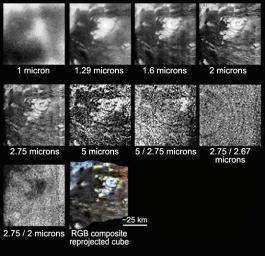 Details of the circular feature, which scientists think is an ice volcano, which could be a source of methane in Titan's atmosphere, show up at wavelengths larger than 1.3 microns. Images were taken during NASA's Cassini Oct. 26, 2004, flyby of Titan.
