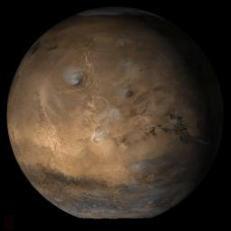 NASA's Mars Global Surveyor shows the Tharsis face of Mars in mid-April 2006.