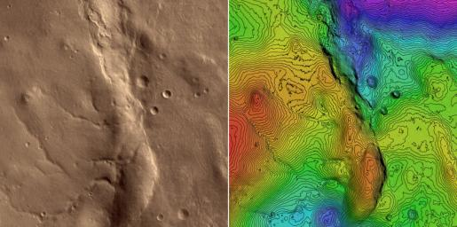 First HiRISE Image of Mars: Topographic Model from Photoclinometry