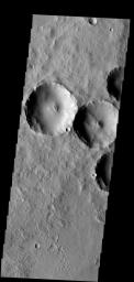 Dust slides occur within the larger craters in this image