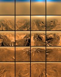 This poster shows a set of images acquired by the European Space Agency's Huygens probe descent imager/spectral radiometer, in the four cardinal directions (north, south, east, west), at five different altitudes above Titan's surface.