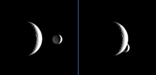 Enceladus briefly passes behind the crescent of Rhea in these images, which are part of a 'mutual event' sequence taken by NASA's Cassini spacecraft. These sequences help scientists refine our understanding of the orbits of Saturn's moons.