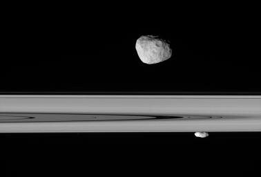 Saturn's moons Janus and Prometheus look close enough to touch in this  stunningly detailed view