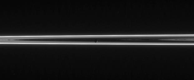 The narrow and twisted F ring lights up this scene, which features Mimas against the unlit side of Saturn's ringplane. This image was taken in visible light with NASA's Cassini spacecraft's narrow-angle camera on June 13, 2006.