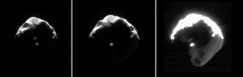 This set of images exposes details on small and crumpled-looking Helene. Large portions of this Trojan moon of Dione appear to have been blasted away by impacts