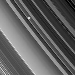 NASA's Cassini spacecraft looks through the dense B ring toward a distant star in an image from a recent stellar occultation observation.