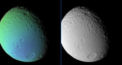 The central-peaked crater Telemachus lies in the deeply grooved terrain that marks the northern reaches of Ithaca Chasma in this false-color and monochrome view of Saturn's moon Tethys from NASA's Cassini spacecraft.