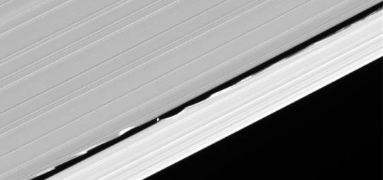 Daphnis drifts through the Keeler gap, at the center of its entourage of waves
