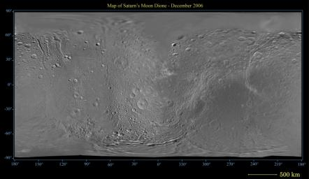 This global digital map of Saturn's moon Dione was created using data taken by NASA's Cassini spacecraft, with gaps in coverage filled in by NASA's Voyager spacecraft data.