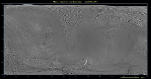 This global digital map of Saturn's moon Enceladus was created using data taken by the Cassini spacecraft, with gaps in coverage filled in by NASA Voyager spacecraft data