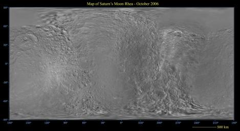 This global digital map of Saturn's moon Rhea was created using data taken during NASA's Cassini and Voyager spacecraft flybys