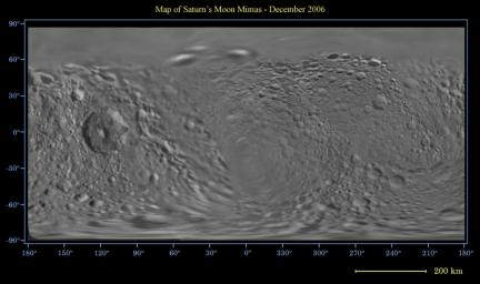 This global digital map of Saturn's moon Mimas was created using data taken by the Cassini spacecraft, with gaps in coverage filled in by NASA's Voyager spacecraft data