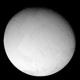 A variety of surface ages is revealed in this 16-image mosaic taken during Cassini's first close flyby of Enceladus, on Feb. 17, 2005