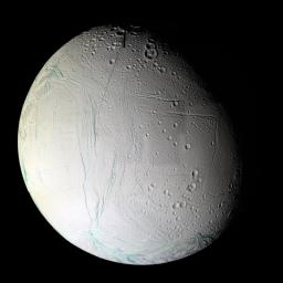Numerous blue-green fractures can be seen in this false-color mosaic taken during Cassini's second close flyby of Enceladus, on March 9, 2005