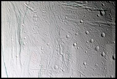 Fine topographic detail and color variations are revealed in this 11-image, false color mosaic taken during Cassini's second close flyby of Saturn's moon Enceladus, on March 9, 2005
