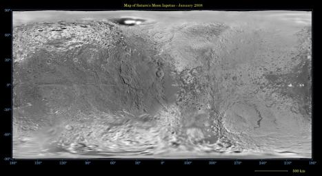 This global map of Iapetus was created using images taken during NASA's Cassini spacecraft flybys, with Voyager images filling in the poles.