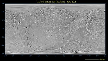 This global map of Saturn's moon Dione was created using images taken during NASA's Cassini spacecraft flybys, with Voyager images filling in the gaps in Cassini's coverage.