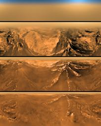 This poster shows a flattened (Mercator) projection of the view from the descent imager/spectral radiometer on the European Space Agency's Huygens probe at four different altitudes.