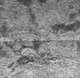 This complex area of hilly terrain and erosional channels is located atop Xanadu, the continent-sized region on Saturn's moon Titan. This image was captured by NASA's Cassini Titan Radar Mapper on April 30, 2006.