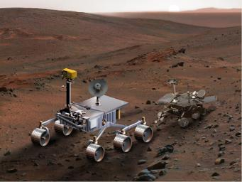An artist's concept of NASA's Mars Science Laboratory (left) serves to  compare it with Spirit, one of NASA's twin Mars Exploration Rovers