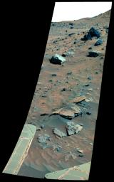 Possible Meteorites in the Martian Hills (False Color)