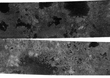 The Cassini spacecraft, using its radar system, has discovered very strong  evidence for hydrocarbon lakes on Titan. Dark patches, which resemble  terrestrial lakes, seem to be sprinkled all over the high latitudes  surrounding Titan's north pole