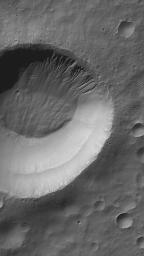 This MOC image shows gullies all of which head at the same level on a south mid-latitude crater wall