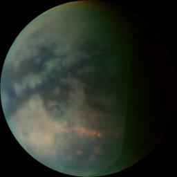This image depicts Saturn's moon Titan as seen by NASA's Cassini visual and infrared mapping spectrometer after closest approach on a July 22, 2006, flyby.