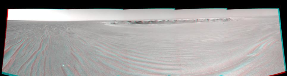 A drive of about 30 meters (about 100 feet) on Sept. 25, 2006 brought NASA's Mars Exploration Rover Opportunity to within about 20 meters (about 66 feet) of the rim of 'Victoria Crater.' 3D glasses are necessary to view this image.