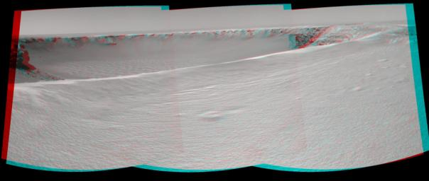 NASA's Mars rover Opportunity reached the rim of 'Victoria Crater' in Mars' Meridiani Planum region on Sept. 26, 2006. 3D glasses are necessary to view this image.