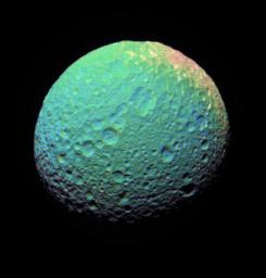 This extreme false-color view of Mimas shows color variation across the moon's surface