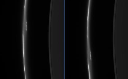 These two images from NASA's Cassini spacecraft, taken about eight minutes apart, show clump-like structures and a great deal of dust in Saturn's ever-changing F ring.
