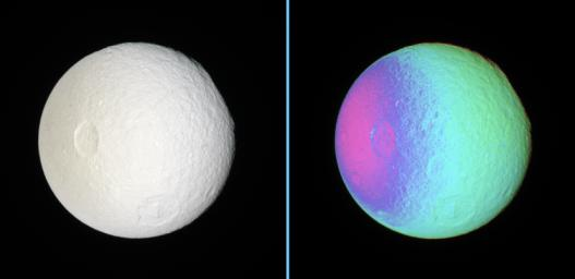 These side-by-side natural color and false-color views show cratered terrain on the anti-Saturn hemisphere of Tethys -- the side that always faces away from Saturn