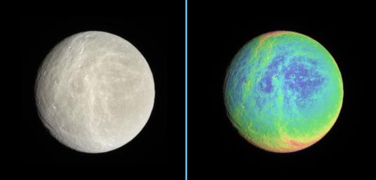 Side-by-side natural color and false-color views highlight the wispy terrain on Rhea's trailing hemisphere