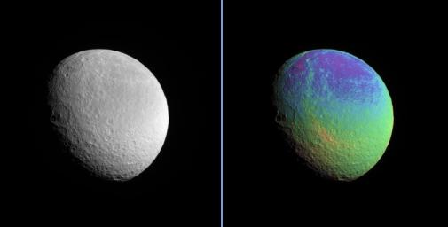 Rhea displays a marked color contrast from north to south that is particularly easy to see in the extreme color-enhanced Cassini spacecraft view presented here