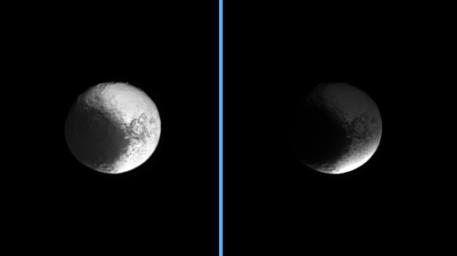 Darkness sweeps over Iapetus as the Cassini spacecraft watches the shadow of Saturn's B ring engulf the dichotomous moon. The image at left shows the unshaded moon, while at right, Iapetus sits in the shadow of the densest of Saturn's rings