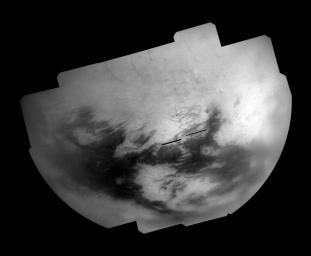 Bright and dark terrains on Titan's trailing hemisphere are revealed by NASA's Cassini Imaging Science Subsystem in this mosaic of images taken during the T28 flyby in April 2007.