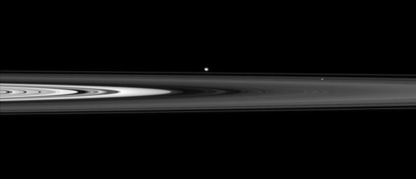 The Cassini spacecraft skims past Saturn's ringplane at a low angle, spotting two ring moons on the far side
