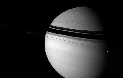 As enchanting as it is scientifically intriguing, Saturn is a world of unparalleled beauty and limitless potential for learning. This view from NASA's Cassini spacecraft looks toward Saturn from edge-on with the ringplane.