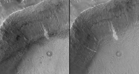 NASA's Mars Global Surveyor shows a gully deposit in an unnamed crater in Terra Sirenum on Mars.