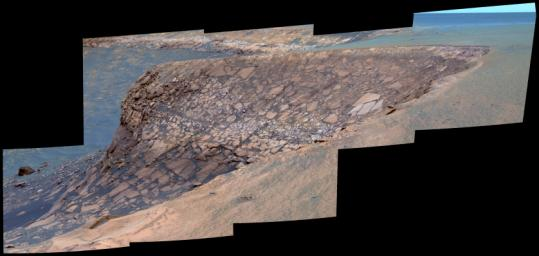 On Oct. 16, 2006, NASA's Mars Exploration Rover Opportunity examined a section of the scalloped rim called Cape St. Mary in Victoria Crater on Mars.