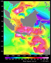 QuikScat Shows Rough Seas/Atmospheric Conditions at Time of Two Java Sea 