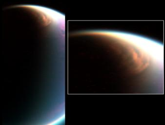Cassini's visual and infrared mapping spectrometer has imaged a huge cloud system covering the north pole of Titan