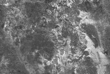 This radar image of Titan shows Ganesa Macula, interpreted as a cryovolcano (ice volcano), and its surroundings. Cryovolcanism is thought to have been an important process on Titan and may still be happening today